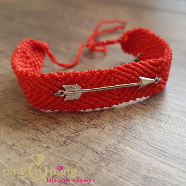 Bijou original : Brésilien flèche en argent rhodié rouge de L'avare