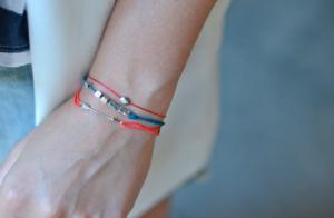 Bracelet de L by L'AVARE rouge avec flèche en argent