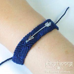 bracelet brésilien de L by L'AVARE bleu marine pour homme et femme avec flèche en argent