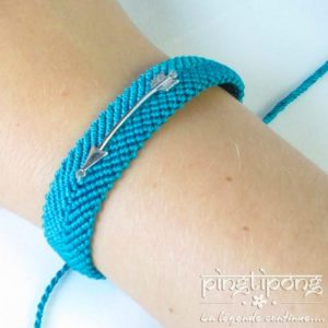 bracelet brésilien de L by L'AVARE bleu turquoise, flèche en argent
