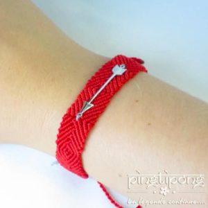 bracelet brésilien et argent de L by L'AVARE rouge pour homme et femme