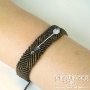bracelet brésilien de L by L'AVARE marron flèche en argent pour homme et femme