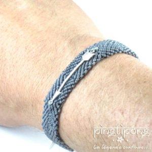 bracelet brésilien de L by L'AVARE gris pour homme et femme avec flèche en argent