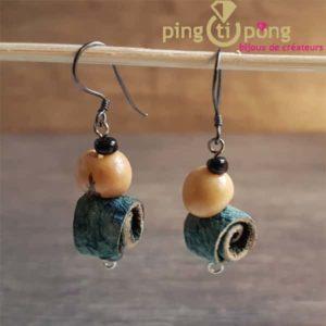Boucles d'oreilles en peau d'orange bleue GREEN AGE -0