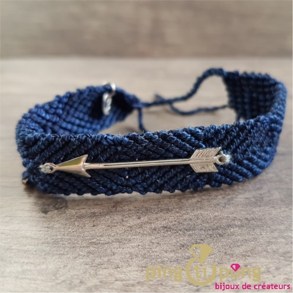 Bracelet brésilien flèche argent homme et femme bleu marine - L'AVARE bijoux-0