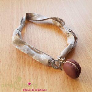 Bracelet double tour macaron marron chocolat - bijoux gourmands-0