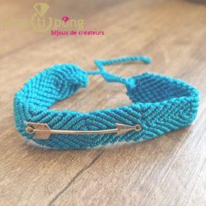 Bracelet brésilien flèche argent homme et femme bleu turquoise - L'AVARE bijoux-0