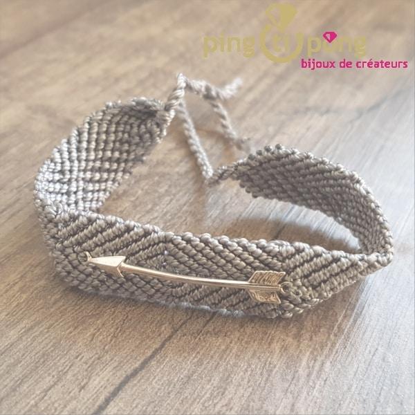 Bracelet brésilien flèche argent homme et femme gris souris - L'AVARE bijoux-0