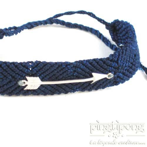 bracelet L'avare en argent rhodié et tissu brésilien homme et femme