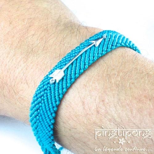 bijou homme argent fleche bleu turquoise de L by L'avare homme et femme