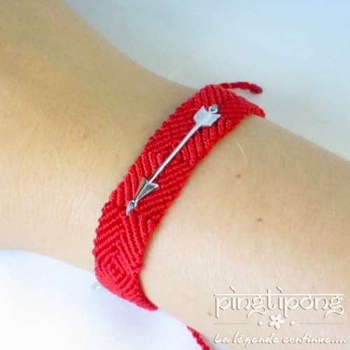 Bracelet brésilien flèche argent homme et femme rouge - L'AVARE bijoux-0