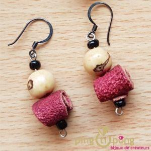 Green-Age - Boucles d'oreilles en peau d'orange et tagua rouges -Pingtipong bijoux fantaisie-0