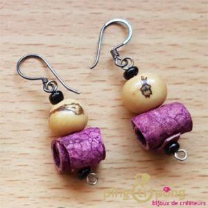 Green-Age - Boucles d'oreilles en peau d'orange et tagua rose -0