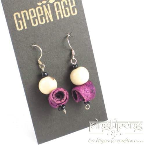 bijoux fantaisie boucles d'oreilles en peau d'orange violettes