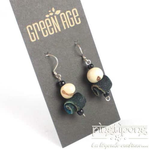 bijoux fantaisie boucles d'oreilles en peau d'orange vert foncé