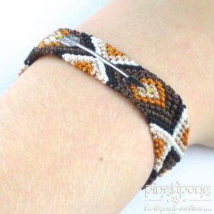 Bracelet brésilien flèche argent femme et homme marron chaud noir beige blanc-0
