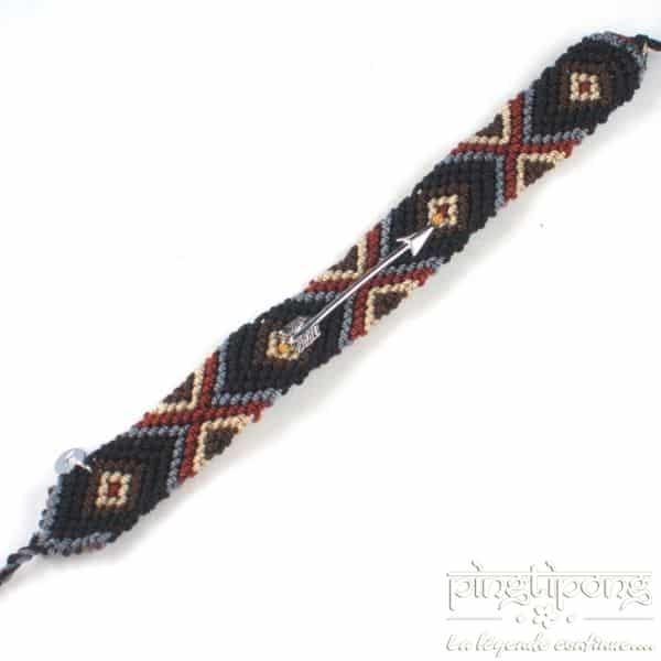 Bracelet brésilien noir marron gris et beige avec flèche argent homme et femme-0