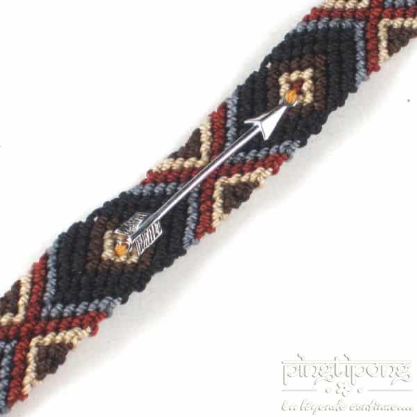 bracelets brésiliens noir marron gris beige avec flèche en argent L'AVARE