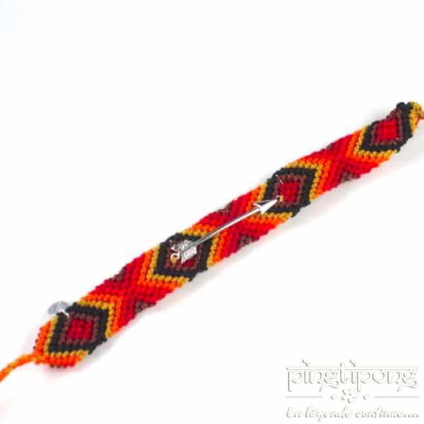 bracelet brésilien rouge orange jaune noir et marron et flèche en argent L'AVARE