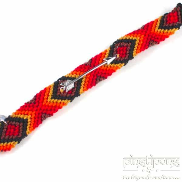 Bracelet brésilien pour hommes et femmes rouge orange jaune marron noir avec flèche d'argent L'AVARE-0