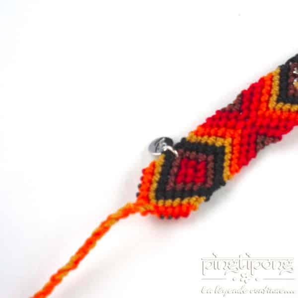 bracelets brésiliens rouge orange jaune noir et marron et flèche en argent L'AVARE