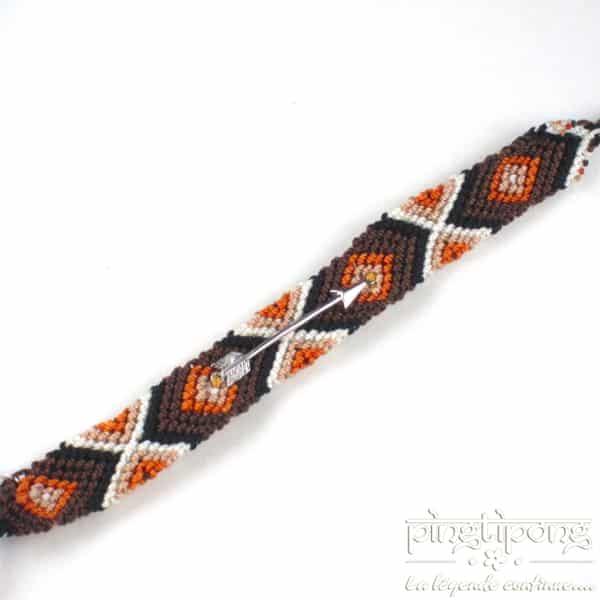 bracelets brésiliens marron marron clair noir beige avec flèche en argent L'AVARE