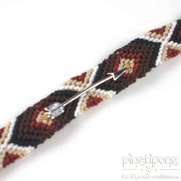 Bracelets brésiliens flèche argent homme et femme marron noir beige et blanc-0