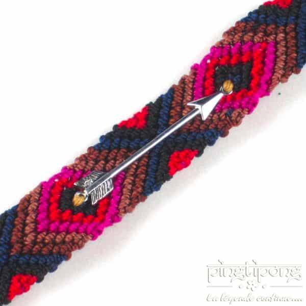 Bracelet brésilien argent homme et femme rouge rose marron bleu - L'AVARE bijoux-0