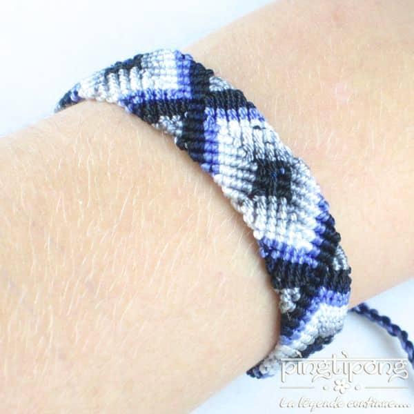 Bracelet brésilien de L by L'AVARE simple tons bleus blanc et noir