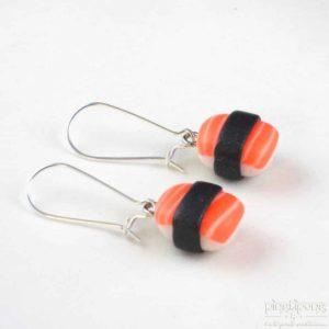 boucles d'oreille bijou gourmand sushi saumon orange fluo
