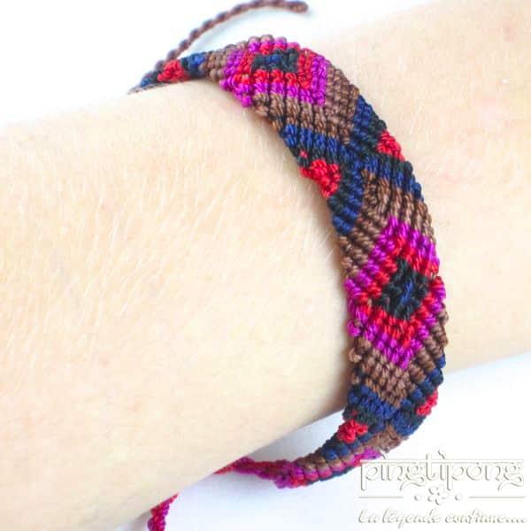 Bracelet brésilien homme et femme rouge rose marron bleu - L'AVARE bijoux-0