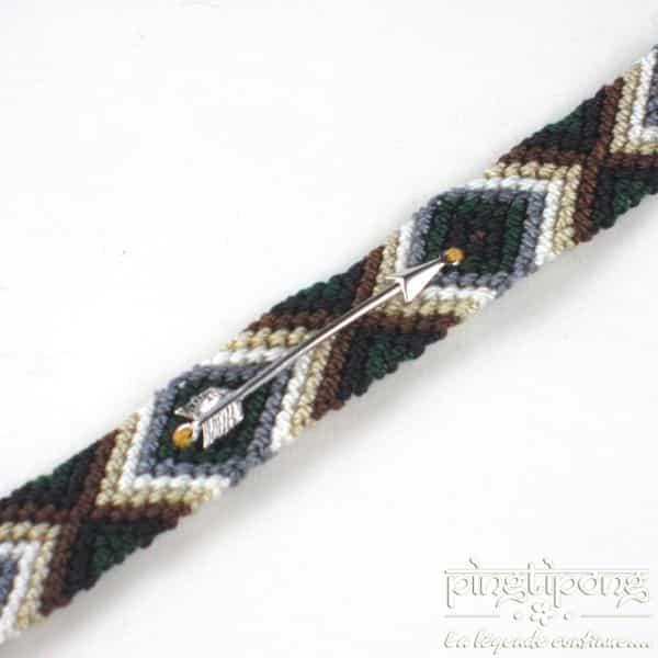 Bracelet brésilien flèche argent femme et homme marron blanc vert et gris-0