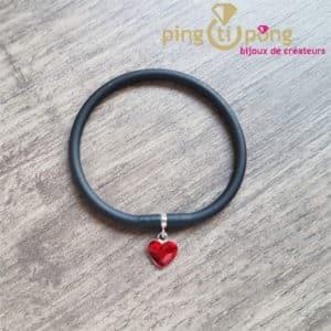 Bijou original : Bracelet silicone et coeur en cristal de Swarosvki de SPARK