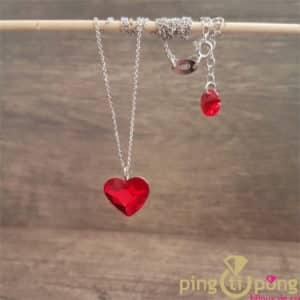 Bijou en argent : Collier coeur rouge en cristal de Swarovski de SPARK