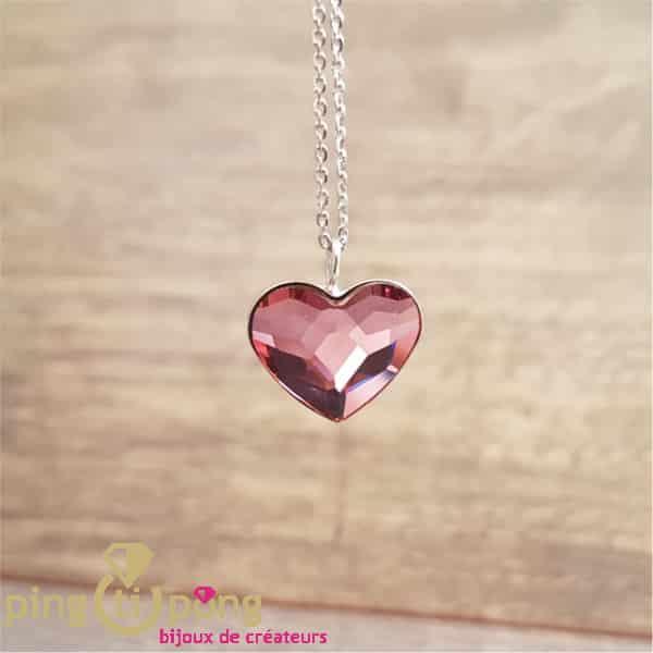 Collier Spark coeur en cristal de Swarovski® rose ancien et argent rhodié