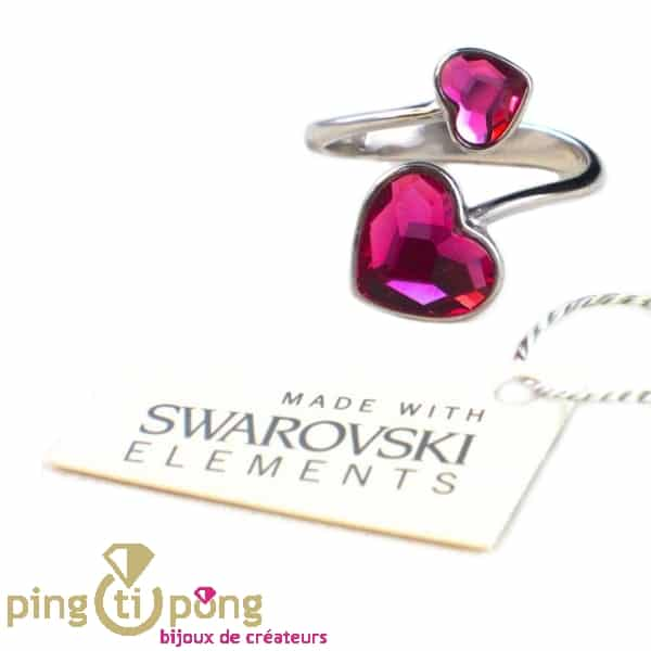 """Swarovski crystals and silver heart """"you and me"""" ring from SPARK"""