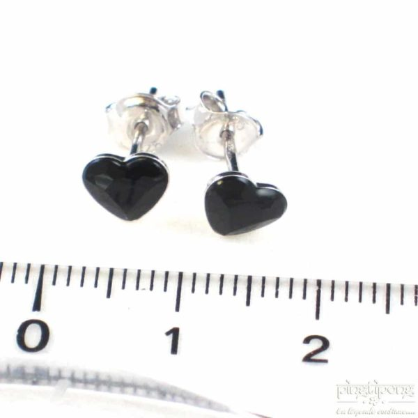 bijou spark boucle d'oreille puce en argent et swarovski en forme de coeur noir jais