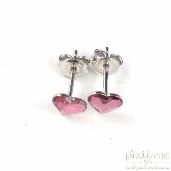 bijou spark boucle d'oreille puce en argent et swarovski en forme de coeur rose intense