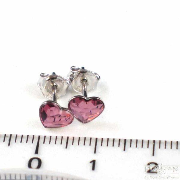 bijou spark boucles d'oreille puces en argent et swarovski en forme de coeur rose intense