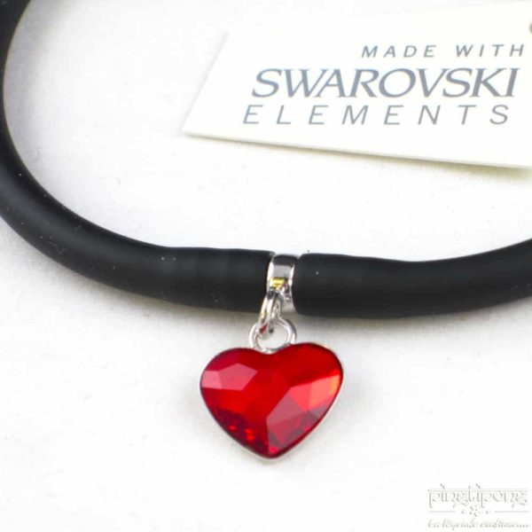 Spark jewelry silicone bracelet black and red heart swarovski ruby