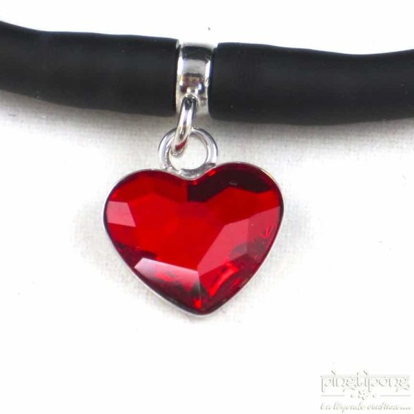 Spark jewel : black silicone bracelet and red heart ruby in swarovski
