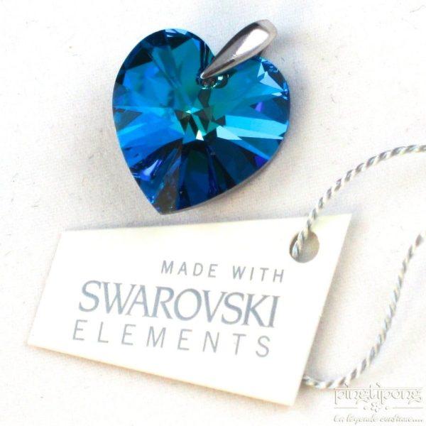 bijou SPARK en Swarovski bleu topaze et argent forme de coeur