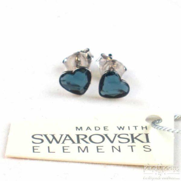 bijou spark boucle d'oreille puce en argent et swarovski en forme de coeur bleu topaze