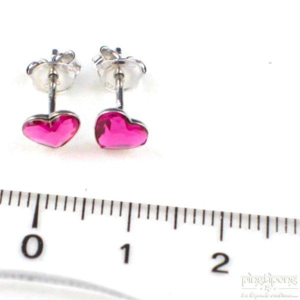 bijou spark boucle d'oreille puce en argent et swarovski en forme de coeur rose
