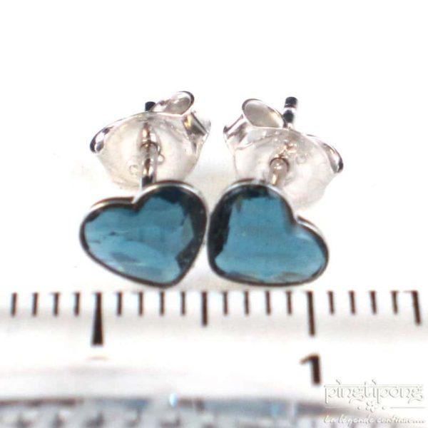 bijou spark boucles d'oreilles puce en argent et swarovski en forme de coeur bleu topaze