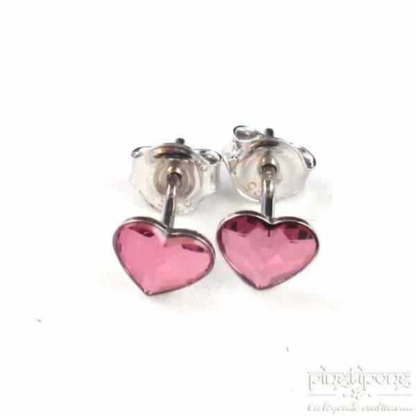 bijoux spark boucles d'oreilles puce en argent et swarovski en forme de coeur rose intense