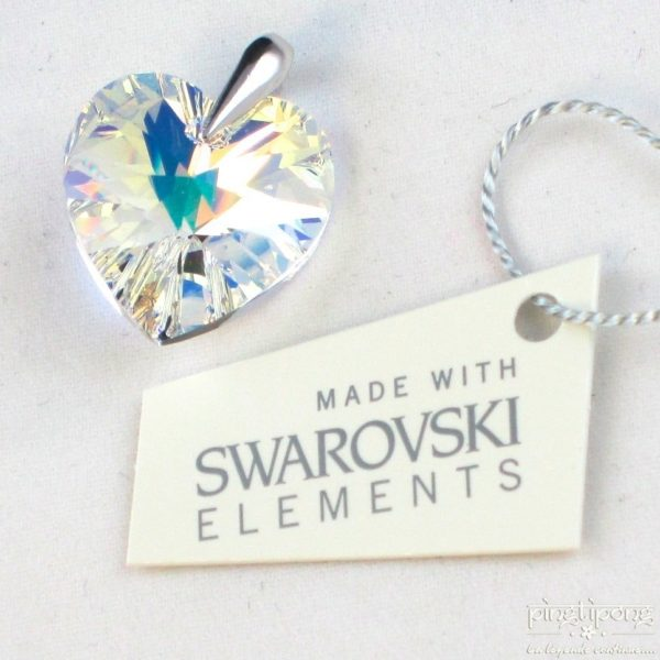 """bijoux SPARK en Swarovski blanc """"aurore boréale"""" et argent forme de coeur"""