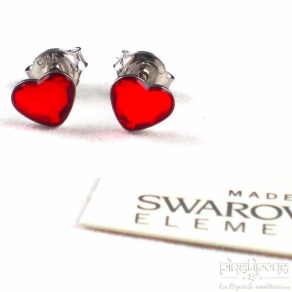bijoux spark boucle d'oreille puce en argent et swarovski en forme de coeur rouge rubis