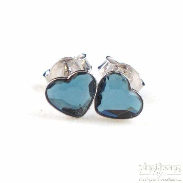 bijoux spark boucles d'oreilles puce en argent et swarovski en forme de coeur bleu topaze