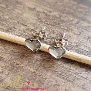 Boucles puces coeur blanches SPARK